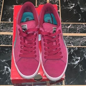 Pink and turquoise puma sneakers